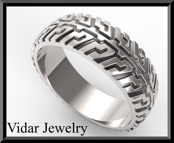 Tire Tread Mens Wedding band