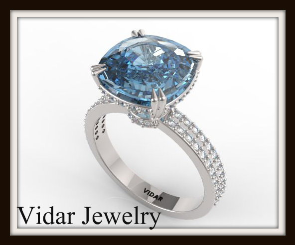 London Blue Topaz And Diamond Engagement Ring