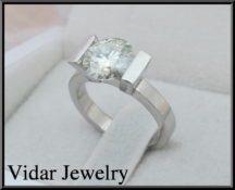Platinum Tension Set Engagement Ring