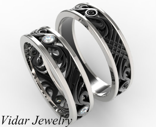 His and Hers Matching Wedding Band Set