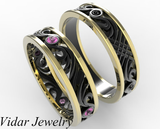 Two Tone Gold His And Hers Pink Sapphire Wedding Band Set Vidar