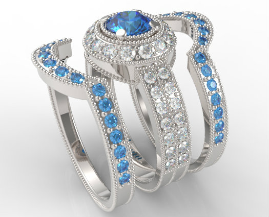 filligree fancy blue diamond trio wedding ring set - Blue Wedding Ring Set