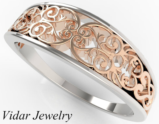 White And Rose Gold Wedding band Vidar Jewelry Unique Custom