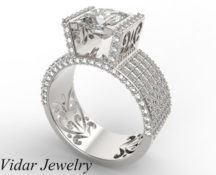 Wide Band Princess Cut Diamond Ring
