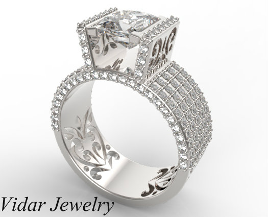 Custom Wide Band Princess Cut Diamond Engagement Ring Vidar