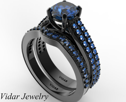Womens Blue Sapphire Wedding Ring Set in Black Gold Vidar