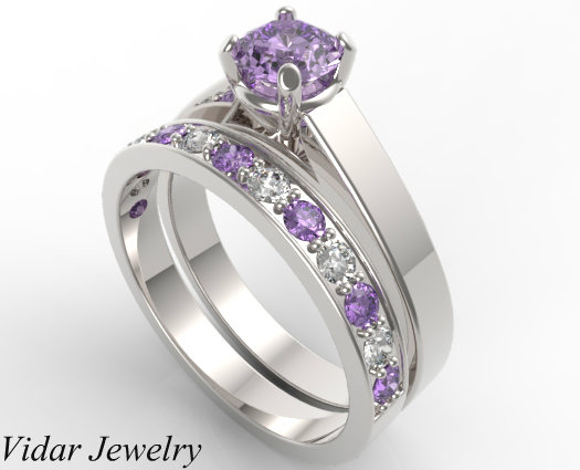 unique alternating amethyst diamond wedding ring set - Amethyst Wedding Rings