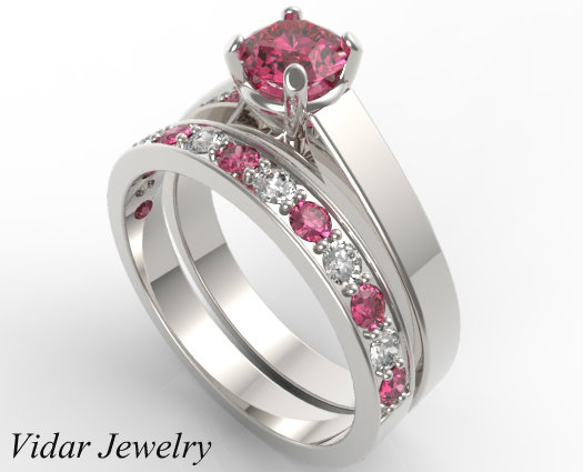 unique alternating pink sapphire diamond wedding ring - Pink Wedding Ring Set