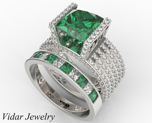 oval shaped gold white band in brides diamond set engagement wedding french emerald gallery rings ring