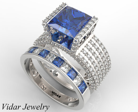 Princess Cut Blue Sapphire Wedding Ring Set In White Gold Vidar