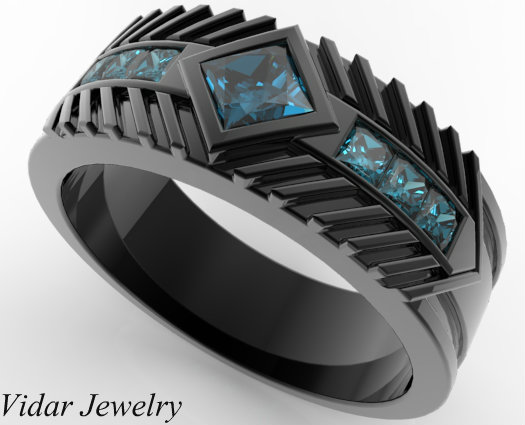 Mens Wedding Band Black Gold Princess Cut Blue Diamonds