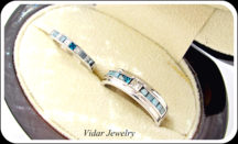 His And Her Princess Cut White And Blue Diamond Matching Wedding Bands