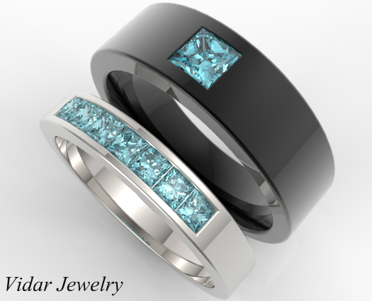 unique aquamarine matching bands for him and her