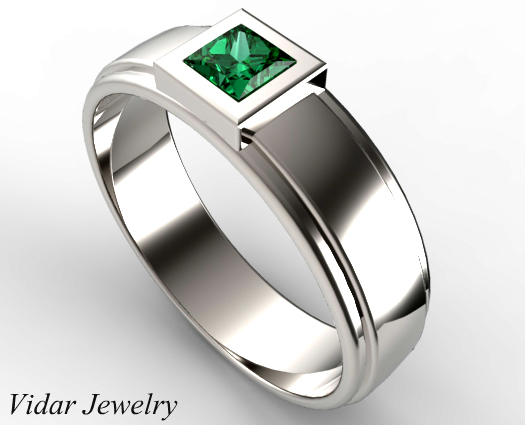 Unique Mens Princess Cut Green Emerald Wedding Ring