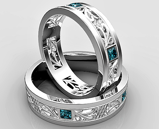 Princess Cut Blue Diamond Matching Wedding Ring Set
