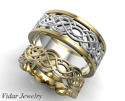 unique celtic matching wedding ring set - Celtic Wedding Ring Sets