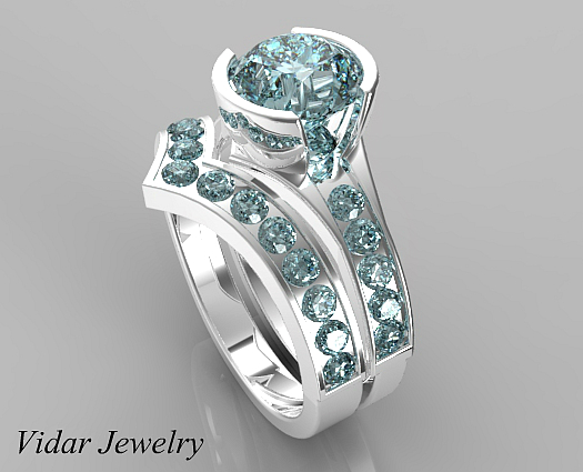 unique style aquamarine wedding ring set - Aquamarine Wedding Rings