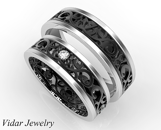 Unique Matching Wedding Bands His And Hers Vidar Jewelry Unique