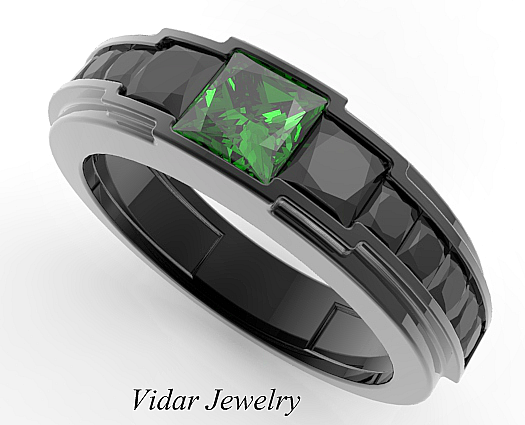 be1cf3421a451 Men's Black Gold Emerald wedding Band-Unique Princess Cut Black Diamond Ring