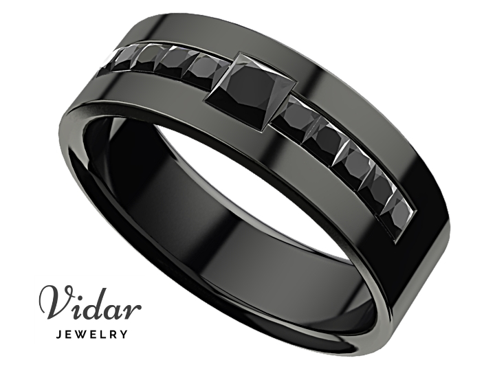 Men's Princess Black Diamond Black Gold Wedding Ring