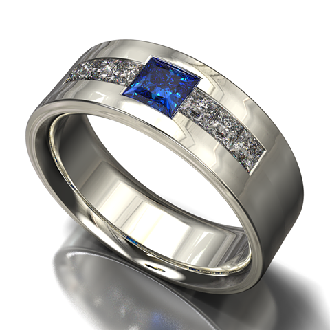 Blue Sapphire Mens Wedding Band